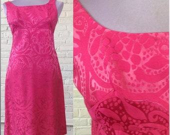 1960s Hot Pink Brocade Dress, size S