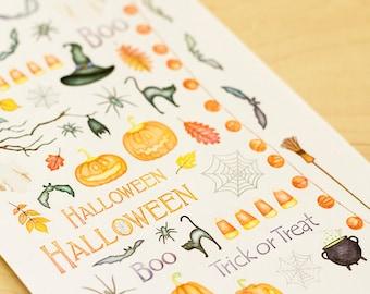 Halloween Watercolor Planner Stickers (Inkwell Press, Erin Condren, Plum Paper, Fliofax, Kikki K, Happy)