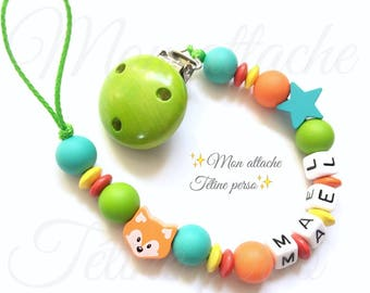 "personalized pacifier clip beads silicone ~ orange Fox ""Mael"" model"