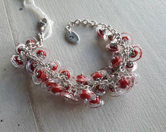 Chain bracelet, artisan Lampwork, 36 flowers red and transparent beads