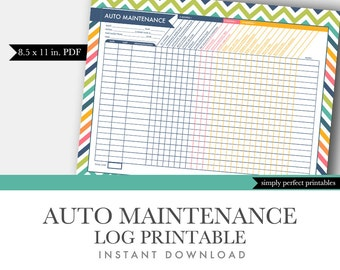 Auto Maintenance Log - Vehicle Maintenance Log - Car Maintenance Log - Printable PDF Letter Size