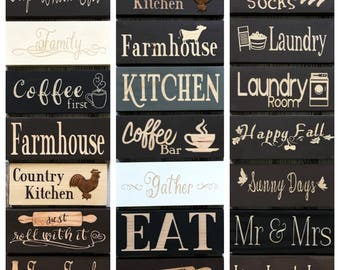 Wood Block Signs Kitchen, Laundry, Farmhouse Kitchen Decor, Coffee First, Eat, Kitchen Shelf Sign, Rustic Farmhouse Sign, Mini Wood Sign