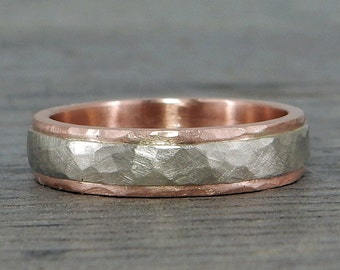 Recycled Two-Tone Wedding Band - 14k White and Rose Gold (Other Colors Available), 5mm Wide, Hammered, Matte, Eco-Friendly, Made to Order