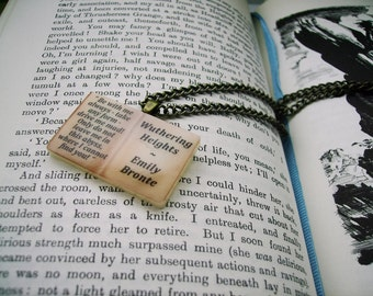 Wuthering Heights Book Necklace British Vintage Styled - HEATHCLIFF & CATHY Ed 2 Literary Book Gift Etsy uk