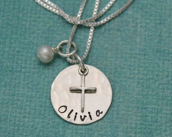 Personalized Cross Necklace, Holy Communion Gift, Confirmation Jewelry, Baptism Gift, Sterling Silver Cross Necklace, Hand Stamped Jewelry