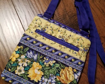 Quilted pattern yellow & blues crossbody purse