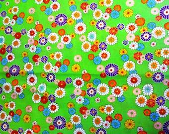 "Alexander Henry tissu Candy fleur lumineux vert avec impression métallique 33"" dernière pièce Poo"
