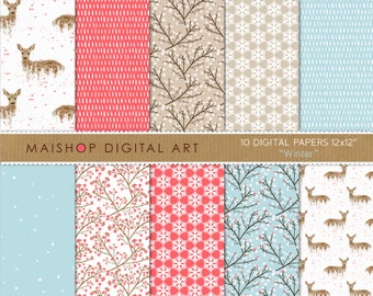 Floral Digital Paper 'Winter' Cute Deers, Blossom Flowers, Snowflakes... for Scrapbooking, Invitations, Stickers, Decoupage, Cards...