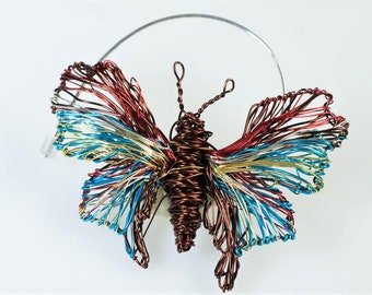 Butterfly brooch, cute, jacket pin, brown turquoise, boho, insect, sculptural, wire, modern art jewelry, Summer gift, wife mother's day gift
