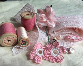 Vintage pink haberdashery pack - buttons, wooden cotton reels, crochet flowers, pink lace