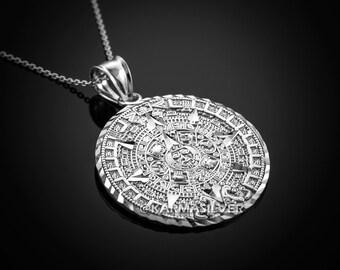 Sterling Silver Aztec Mayan Sun Calendar Necklace