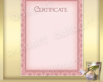 Printable Certificate Template No.2 - Photoshop Template - blank certificate - 8.5 x 11 - pink certificate - Instant Download