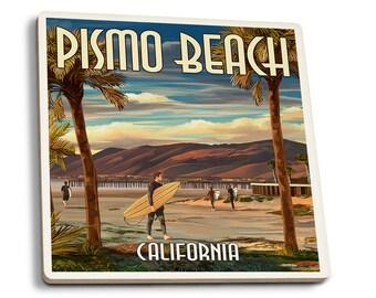 Pismo Beach, CA - Surfer & Pier - LP Artwork (Set of 4 Ceramic Coasters)