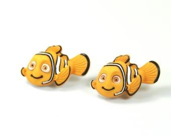 Nemo earrings, Nemo studs, Disney theme earrings, Vacation earrings, Fish studs, Fish earrings
