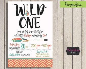 Wild One Invite, Wild One Birthday, Wild One Invitation, Wild One, Girl Wild One Invitation, Tribal Invite,  Tribal Invitation, Digital