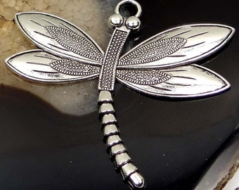 1 Antique Silver Pewter Dragonfly Focal Charm Pendant 58x67mm (p185)