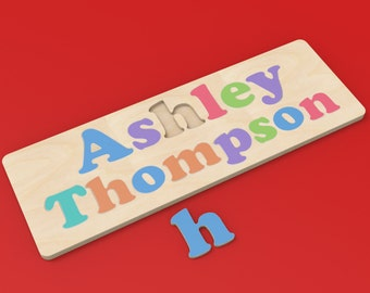 2 Word Name Custom Wood Puzzle with Your Child's Names.