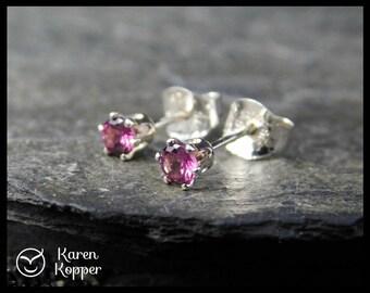 Natural pink Rhodolite garnet gemstone earrings, 3 mm, sterling silver 0.925, January birthstone, ear stud 120