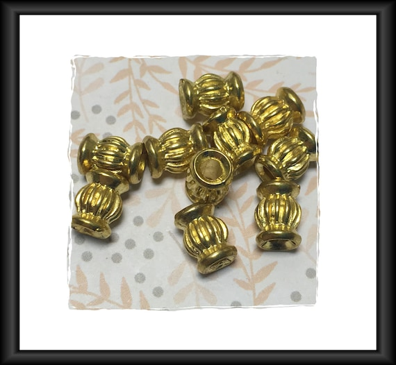 Fluted Barrel Bright Gold Finish Beads 9 x 6 mm - 10 beads