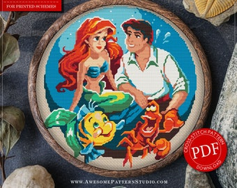 The Little Mermaid Cross Stitch Pattern for Instant Download *P043 | Easy Cross Stitch| Counted Cross Stitch| Modern Cross Stitch