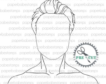 Mixed Media Templates Mens Portrait ~ Mylar templates - Paperbabe Stamps - For mixed media, paper crafting and scrapbooking.