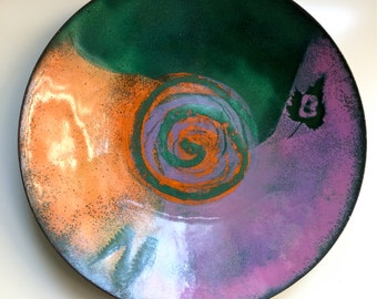 Dated 1969 Signed COPPER/Enamel Plate