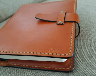 Handmade Leather Bible Cover in Saddle Tan - With Leather Latch - Made in the USA