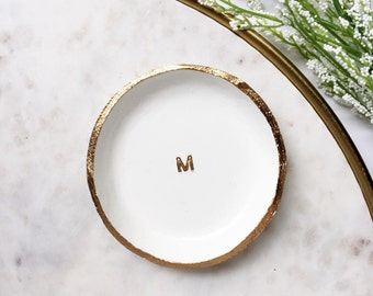 MINIMALIST MONOGRAM // Clay Ring Dish, Trinket Dish, Jewelry Dish, Personalized Gift Idea, gifts for her