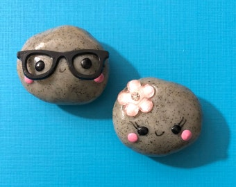Pet Rock Polymer Clay Magnets, BFF Magnets, Mr. and Mrs. Magnets, Kawaii Magnets