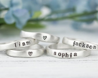 Sterling Silver Name Ring For Mom, Personalized Ring For Women, Organic Ring, Freeform Ring, Gift For Mom, Baby Name Ring, Mothers Day Gift