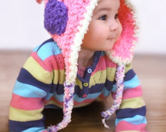 2T to 4T Elf Hat, Toddler Earflap Hat, Childrens Hood, Pink Toddler Girl Bonnet, Toddler Bonnet, Pink Girl Hat, Toddler Photo Prop