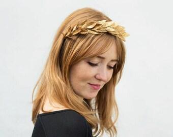 Gold Leaf Headband, Gold Leaf Crown, Laurel Leaf, Gold Crown, Bridal Headpiece, Greek Wedding, Grecian Leaf Crown, Leaf Headband, Roman