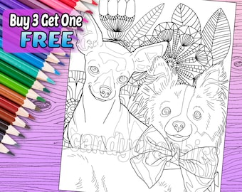 Chihuahuas - Adult Coloring Book Page - Printable Instant Download