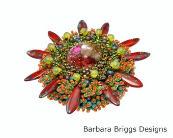 """The """"Marine Life"""" Bead Embroidered Brooch Kit - Red Tones"""