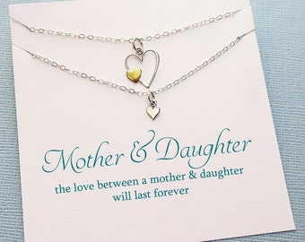 Mommy and Me Outfits | Mother Daugther Jewelry Set, Heart Necklace Set, Mother Daugther Gift Set, Mothers Day Gift, Gifts For Mom | MD02