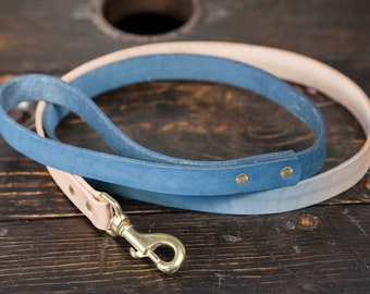 Indigo Dip Dyed Leather Leash with Solid Brass Hardware - Made to Order