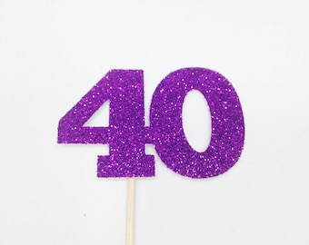 12 Glitter '40' Cupcake Toppers - Birthday Party, 40th Birthday, Forty, Fortieth