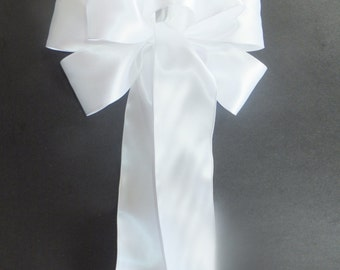 "Set of 4 - 10"" inch Pure White Satin Pew Bow Wedding Anniversary"