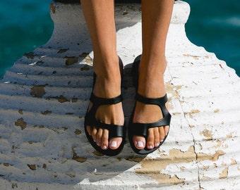 Leather sandals,Ancient Greek sandals,Handmade sandals,Women's sandals,Black sandals,Elegant sandals,Ancient Greece,Triskelion,ARIES