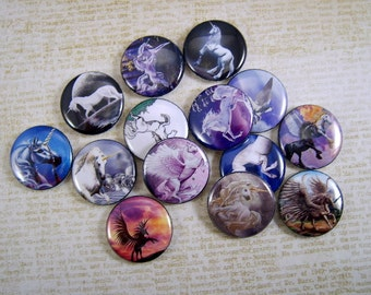 Unicorns and Pegasus Flatback Buttons, Pins, Magnets 12 Ct.