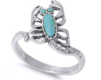Men Women 13mm 925 Sterling Silver Simulated Turquoise Scorpion Ring Band(SNRS130625-TQ)