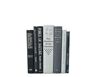 GRAY & SILVER Decorative Books, Weddings, Centerpiece, Book collection, Instant Library, Home Office, blue