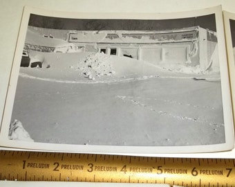 4,1948 photos group of Snow Storm Lot ,glossy black and white Main Street Pictures,Antique car,Snow Drifts,paper ephemera
