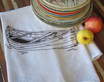 Tea Towel - Screen Printed Flour Sack Towel - Absorbent Kitchen Towel - Handmade - Canoe - Dish Towel - Camping - Eco Friendly Cotton Towel