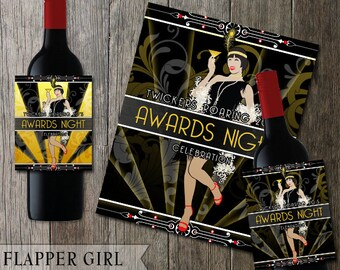 Roaring 20's Flapper Girl Wine Bottle Printable Labels - Customizable text - gold and black- choose a style