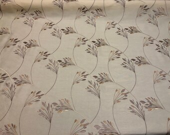 Bloom Cranberly Cream Embroidered Floral Faux Silk Fabric By The Yard