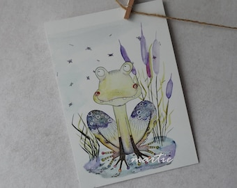 Watercolor Card - Watercolor Postcard - Frog Card - Small Picture - Blank Postcard - Art Postcard - Animal Card - Postcrossing - Postcards