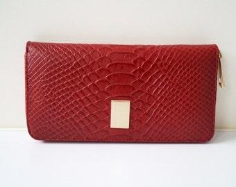 "ladies wallet, womens wallet ""Jana"" in dark red, genuine leather, wallet, purse, portefeuille, handmade, clip purse, new"