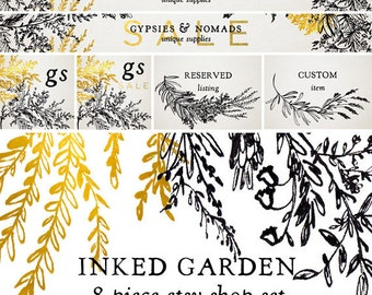 Etsy Shop Set - Premade Logo - Shop Banner - Cover Image - Branding Package - Premade Etsy Branding Kit - Floral Black Gold Ink Calligraphy