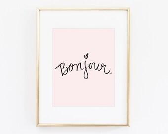 Bonjour Print Digital Download | Printable Art Printable Wall Art Office Decor Bedroom Decor Printable Wall Art Gift Bathroom Decor